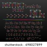 retro neon light vector font....   Shutterstock .eps vector #698027899