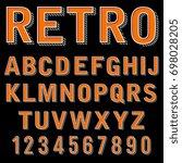 vintage 3 dimensional typeset ... | Shutterstock . vector #698028205