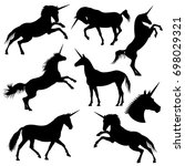 mythical rebellious unicorn... | Shutterstock . vector #698029321