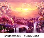 oriental background  digital... | Shutterstock . vector #698029855