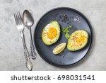 homemade organic egg baked in... | Shutterstock . vector #698031541