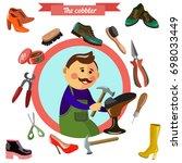 shoemaker profession flat... | Shutterstock .eps vector #698033449