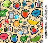 vector seamless pattern  social ... | Shutterstock .eps vector #698035021