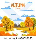 autumn landscape. background... | Shutterstock .eps vector #698037355