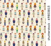 seamless lady pattern   Shutterstock .eps vector #69803815