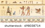 egyptian gods and pharaohs in... | Shutterstock .eps vector #698038714