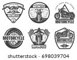 set of motorcycle monochrome... | Shutterstock .eps vector #698039704