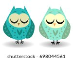 a pair of owls with closed eyes ... | Shutterstock .eps vector #698044561
