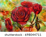 watercolor painting of roses in ...   Shutterstock . vector #698044711