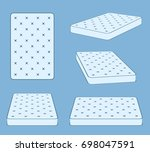 padded comfortable sleeping bed ... | Shutterstock . vector #698047591