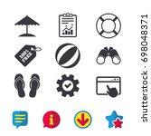 beach holidays icons. ball ...