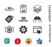 3d technology icons. printer ...