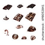 chocolate watercolor black | Shutterstock . vector #698052841