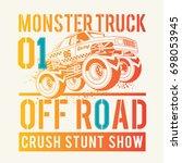 monster truck illustration  tee ... | Shutterstock .eps vector #698053945
