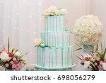 wedding cake. the big white... | Shutterstock . vector #698056279
