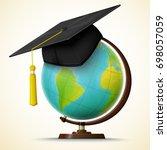vector realistic graduation cap ... | Shutterstock .eps vector #698057059