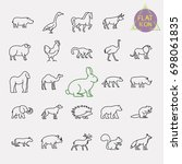 animals line icons set | Shutterstock .eps vector #698061835