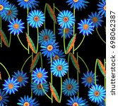 blue space flowers color pencil ... | Shutterstock . vector #698062387
