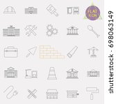 building line icons set | Shutterstock .eps vector #698063149