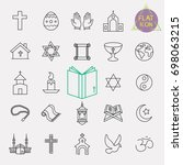 religion line icon set | Shutterstock .eps vector #698063215