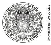 mandala. owl. zentangle. hand... | Shutterstock .eps vector #698064211