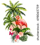 beautiful floral exotic vector... | Shutterstock .eps vector #698065759