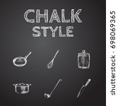 hand drawn cookware sketches... | Shutterstock .eps vector #698069365