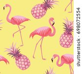 pattern with flamingos and... | Shutterstock .eps vector #698072554