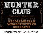 font script typeface vector... | Shutterstock .eps vector #698075755