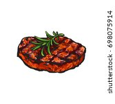 grilled beef steak  beefsteak... | Shutterstock .eps vector #698075914