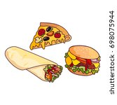 vector sandwich burger  pizza... | Shutterstock .eps vector #698075944