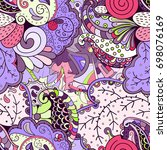 tracery seamless pattern.... | Shutterstock .eps vector #698076169