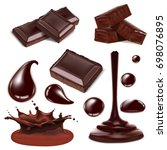 vector chocolate isolated... | Shutterstock .eps vector #698076895