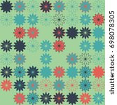 seamless floral pattern with... | Shutterstock .eps vector #698078305