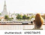 holidays of women like view wat ... | Shutterstock . vector #698078695