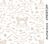 cute seamless pattern with fish ... | Shutterstock .eps vector #698085289