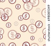 seamless pattern with dollar... | Shutterstock .eps vector #698085349