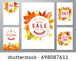 6 bright autumn posters with... | Shutterstock .eps vector #698087611