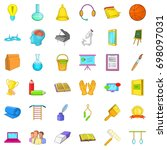 education in school icons set.... | Shutterstock .eps vector #698097031