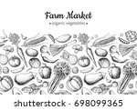 vegetable hand drawn vintage... | Shutterstock . vector #698099365
