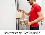 home  delivery service  mail... | Shutterstock . vector #698100415