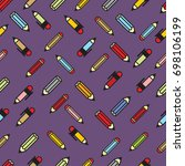 pictograph of pencils seamless... | Shutterstock .eps vector #698106199