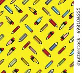 pictograph of pencils seamless... | Shutterstock .eps vector #698106325