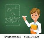 back to school concept. happy... | Shutterstock .eps vector #698107525