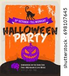 halloween party poster template | Shutterstock .eps vector #698107645
