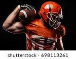 american football sportsman... | Shutterstock . vector #698113261