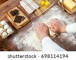 bread making dough knead pastry ... | Shutterstock . vector #698114194