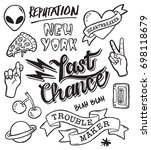a set of grunge doodles and... | Shutterstock .eps vector #698118679
