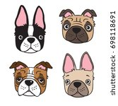 cartoon drawing of four dog... | Shutterstock .eps vector #698118691