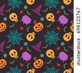 halloween seamless pattern.... | Shutterstock .eps vector #698123767